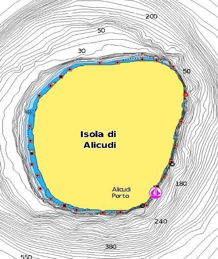 Alicudi nautical map
