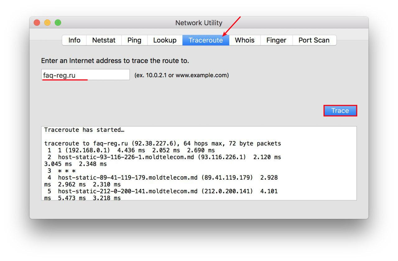 ping and trace in macOS