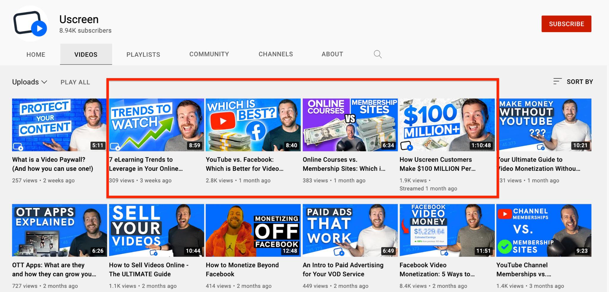 Uscreen youtube video playlist screenshot