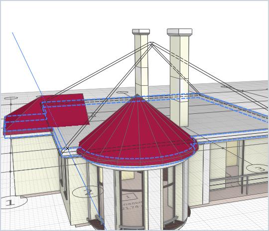 Построение составной крыши