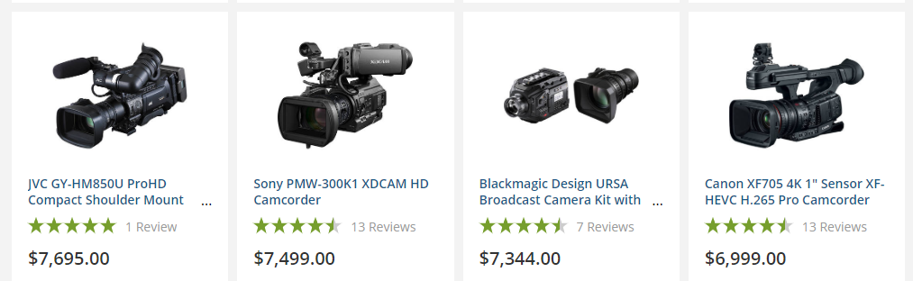 Video equipment expenses add up quickly.
