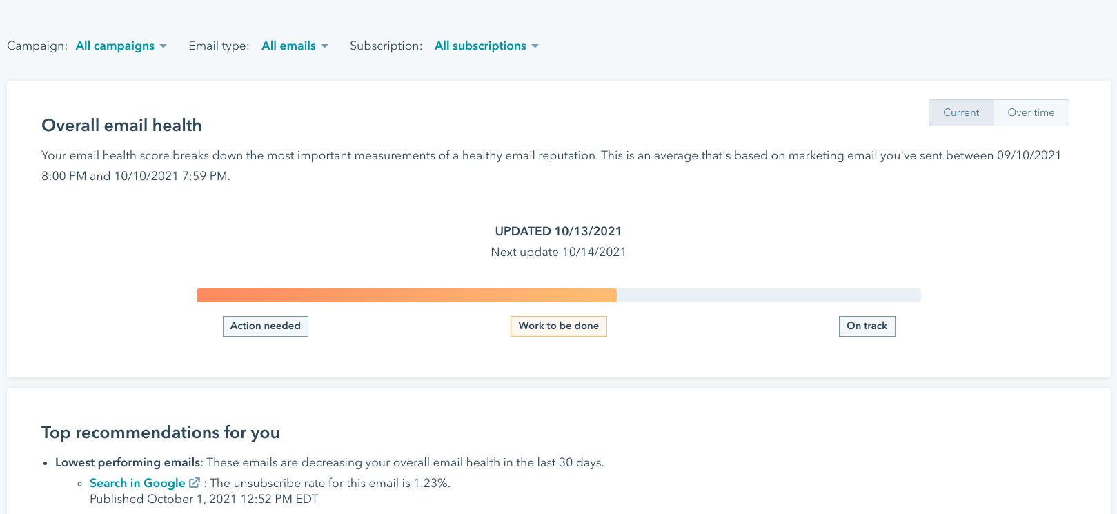 HubSpot's email health tool