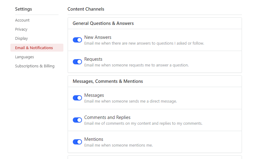 quora email settings