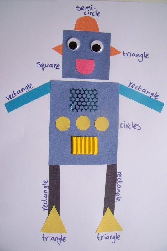 shape robot art project - Google Search | Teaching shapes, Shapes ...