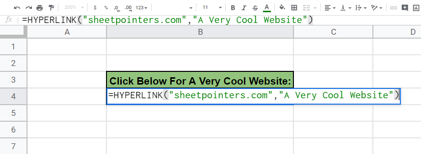 We entered in how we want our hyperlink to be labeled