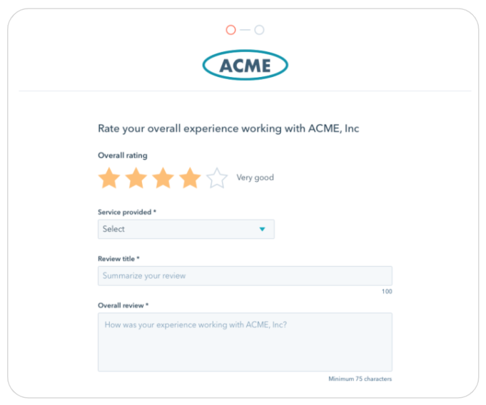 An example of the Service provided dropdown menu for a company named Acme