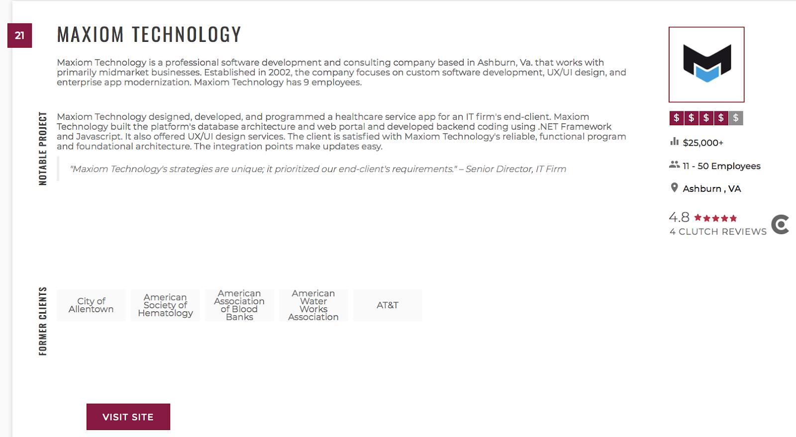Maxiom Technology on Clutch website