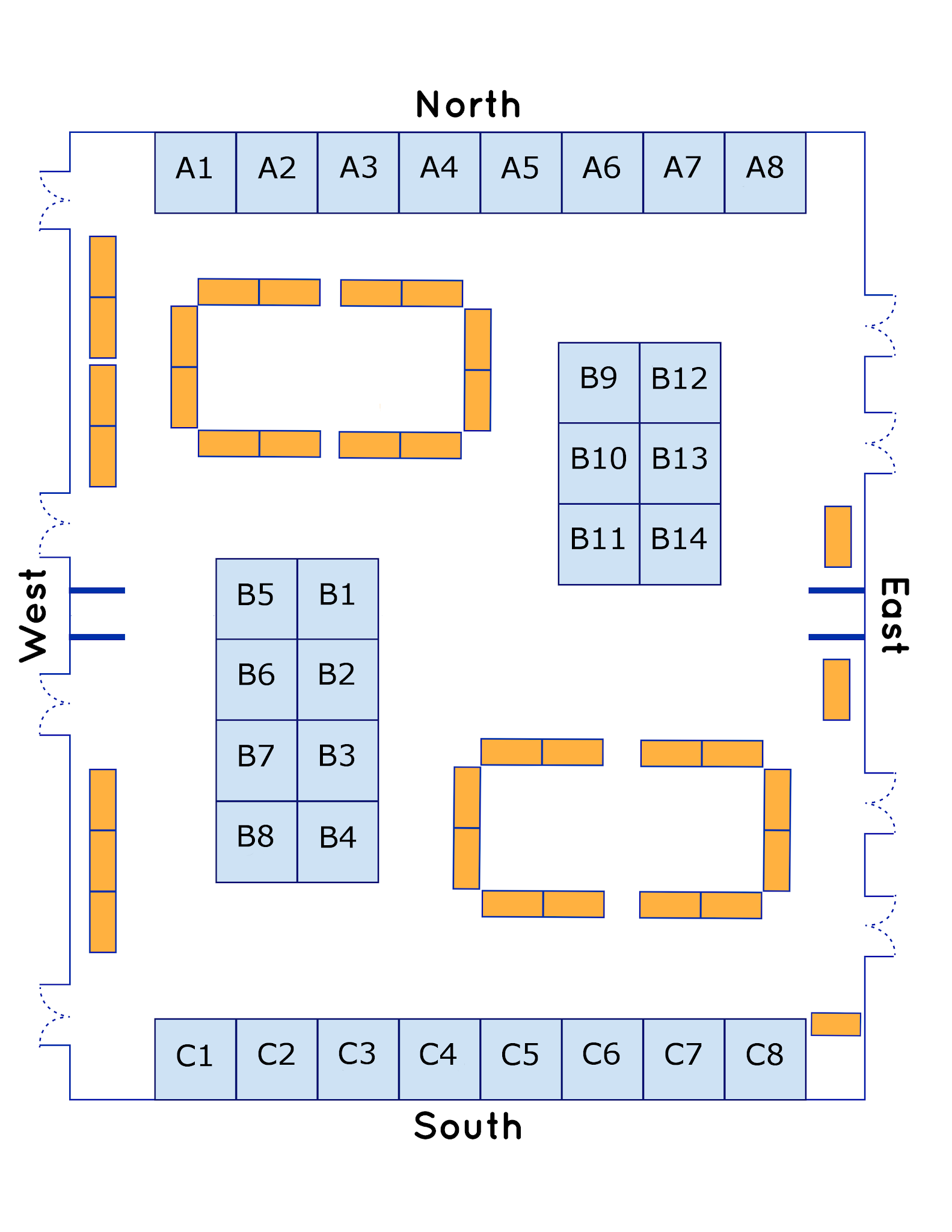 Oriented with booths in section A as North/waterfront