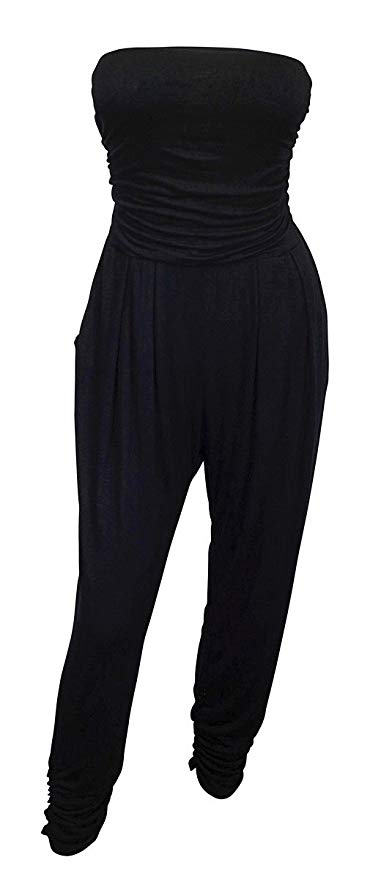 eVogues Plus Size Jumpsuit Black - 1X