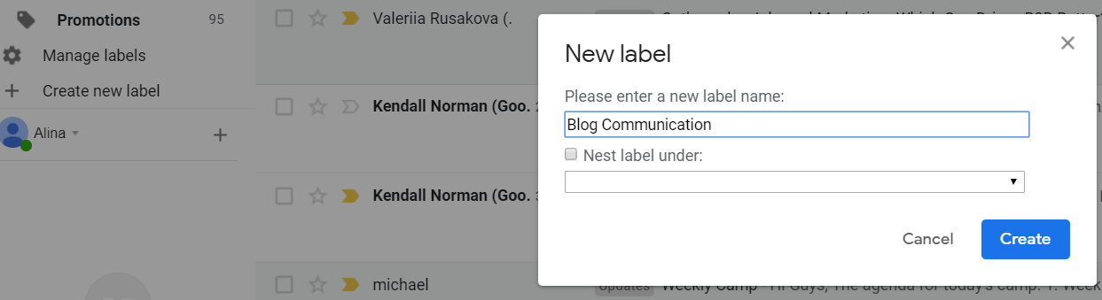 new email labels
