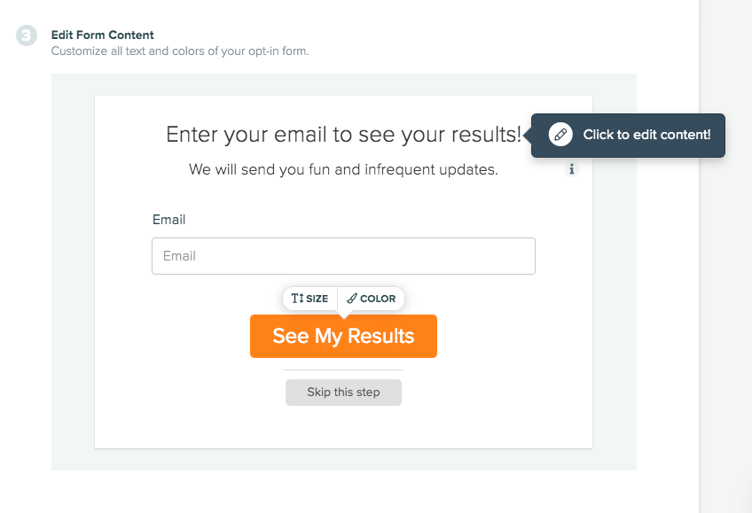 edit opt-in form text and color