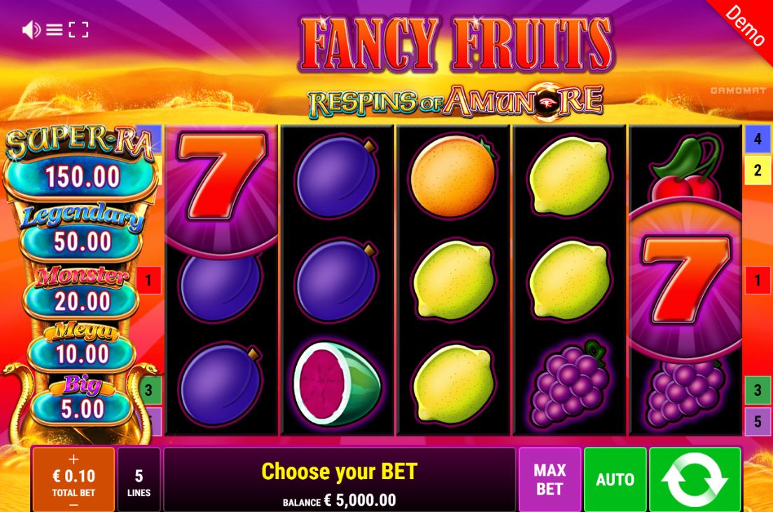 Play Fancy Fruits Respins of Amun by Gamomat for Real Money at Scatters Casino