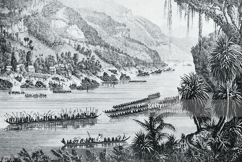 Canoes on the Mekong, engraving from the Voyage d'exploration en Indo-Chine, 1866-1868, an account of the journey undertaken by Ernest de Doudart LaGree (1823-1868) and published by Francis Garnier (1839-1873). Southeast Asia, 19th century.