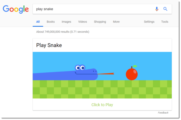 Google Easter egg: snake