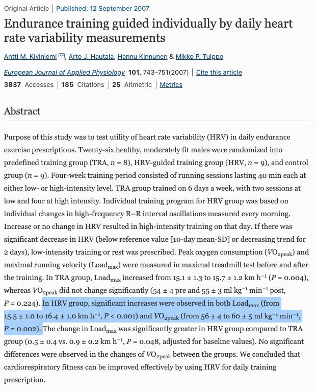 Исследование показывают возможные применения HRV в регулировки нагрузок спортсменов
