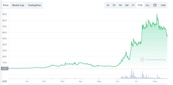 O gráfico mostra valorização de 11.369% com a AXS, token de governança do jogo virtual Axie Infinity. Imagem: Coin Market Cap (de 01/01/2021 a 21/09/2021)