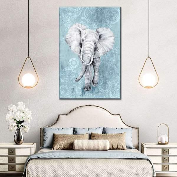 Blue Paisley Elephant Canvas Wall Art