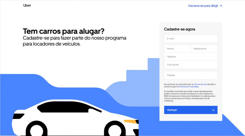 Aluguel de carros Uber