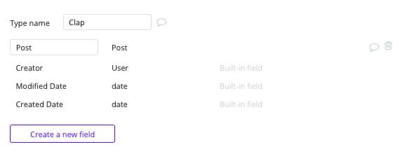 Bubble No Code Medium Clone Clap Data Type and Fields