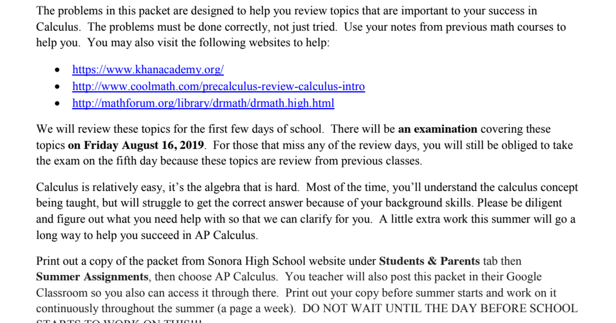 Summer Review Packet-AP CALCULUS-2019 pdf - Google Drive
