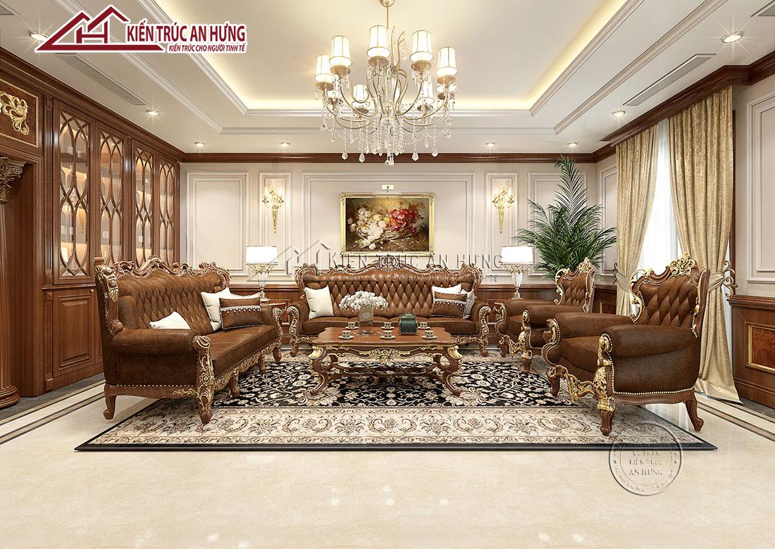 Nội thất phòng khách được thiết kế theo phong cách tân cổ điển