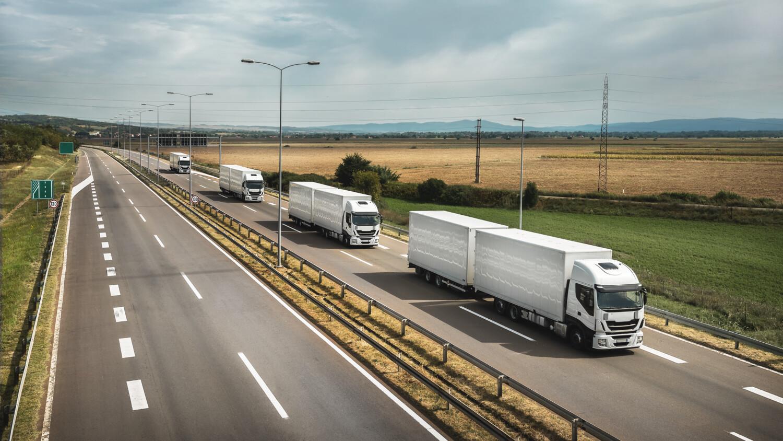 Trucks driving on a high-way