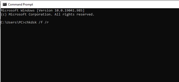 chkdsk /f /r repair tool to repair sector of Hard disk.