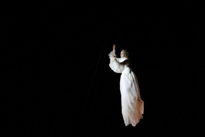 woman floating through air