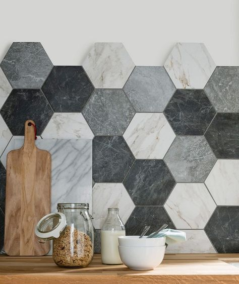 hexagon stone tile backsplash in a variety of neutral colors
