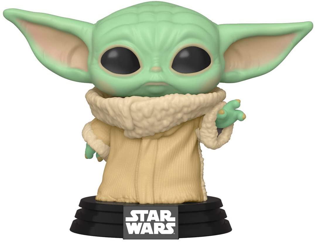 Funko Pop do baby Yoda, personagem conhecido da saga Star Wars. Sugestão de presente geek.