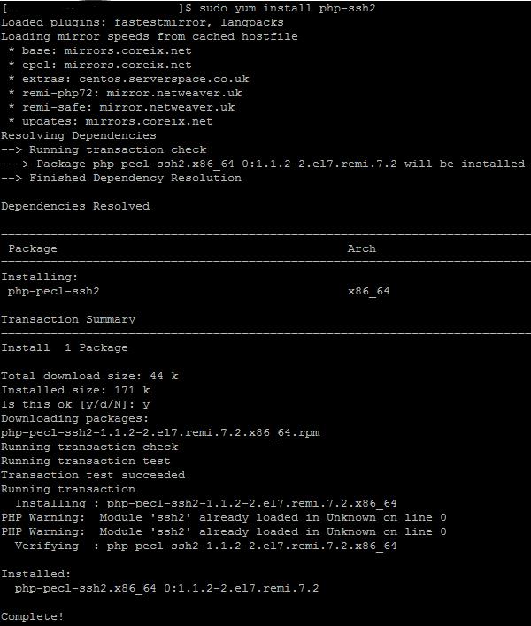 sudo yum install php-ssh2