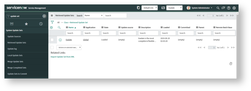 exalate for servicenow xml update