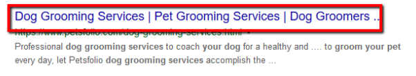 Example of Dog Grooming Title
