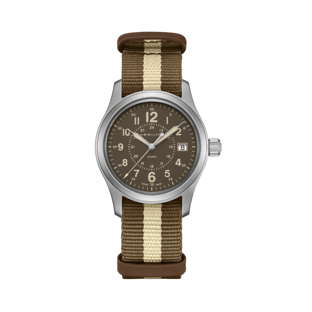 Hamilton field watch with a fabric stropped strap, green dial and a silver steel case.