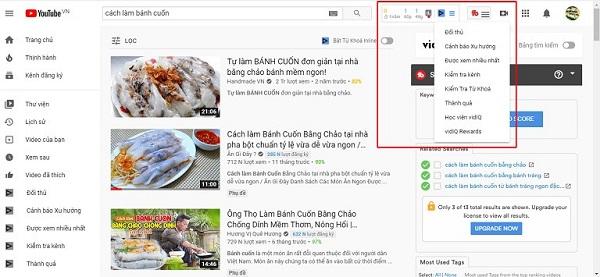 Một số tính năng hữu ích của công cụ tìm kiếm từ khóa VidIQ