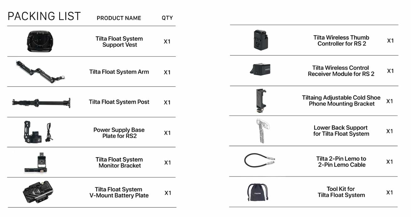 Tilta Float system packing