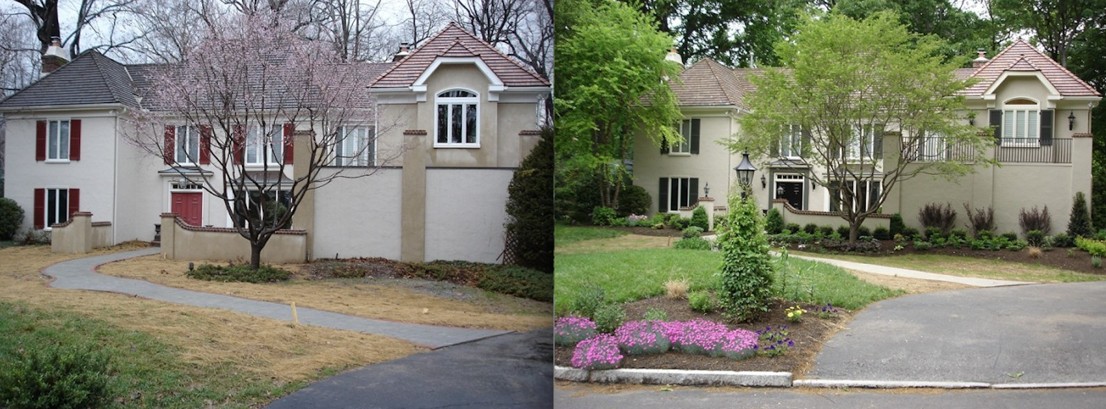 Side-by-side front yard transformation