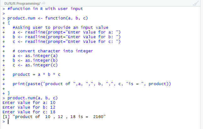 See the final output for user-defined function when it is defined with a user input.
