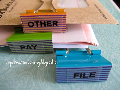 Easy Organization with Binder Clips by Polka Dots and Paisley