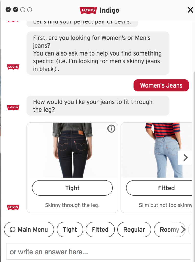 Levi's Chat Bot Questionnaire