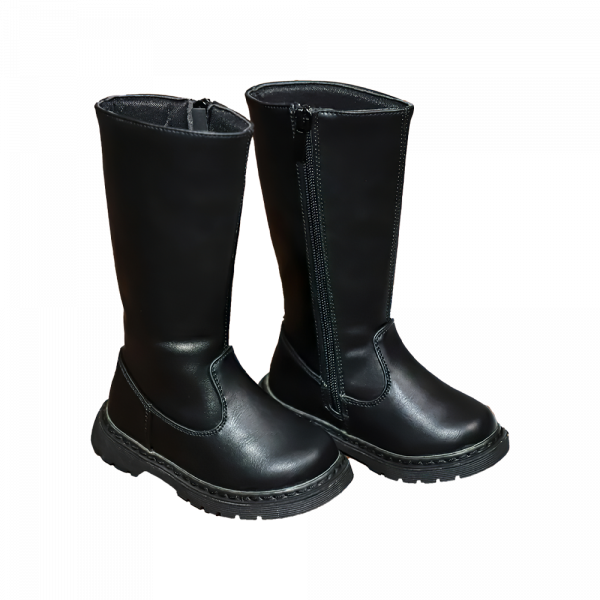 Toddler Girl All Black Leather Boots