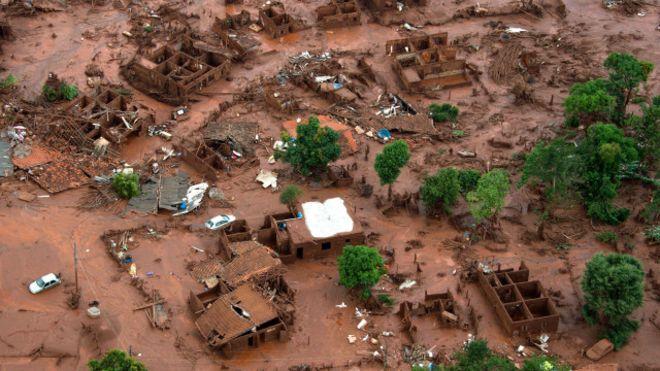 imagem de brumadinho após destruição da represa