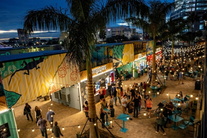 locals enjoy a night out at Sparkman Wharf in Tampa, FL