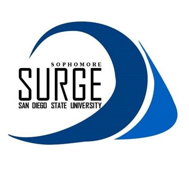 Sophomore SURGE Shirt Logo with blue waves