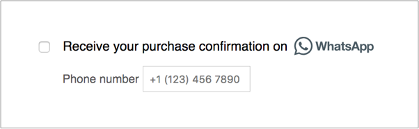 Purchase confirmation via WhatsApp. Example