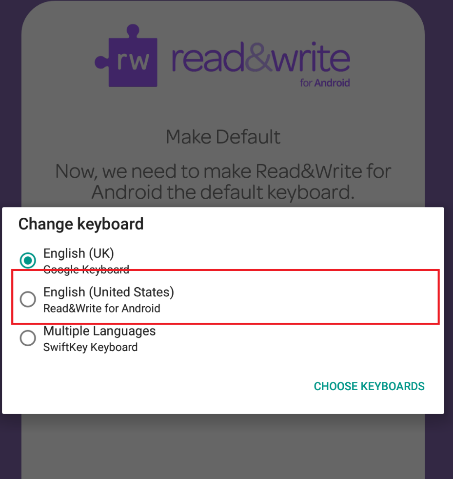 Android keyboard selection