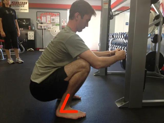 Deep squat showing 35-45 degree ankle dorsiflexion