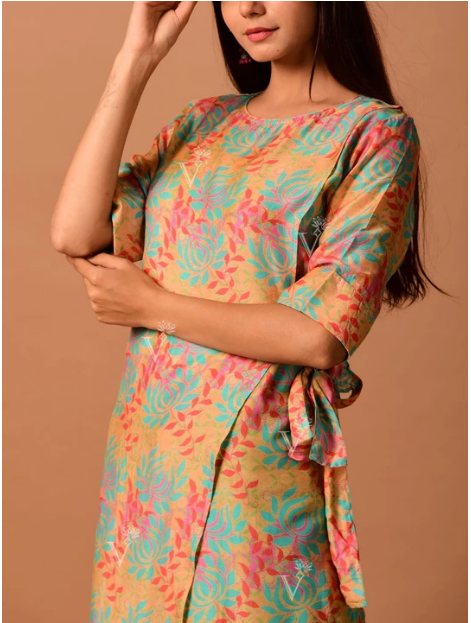 Multi-Color Diagonal Cut Cotton Kurti