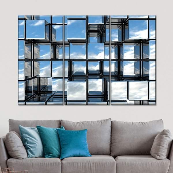 Mirror Cubes Multi Panel Canvas Wall Art