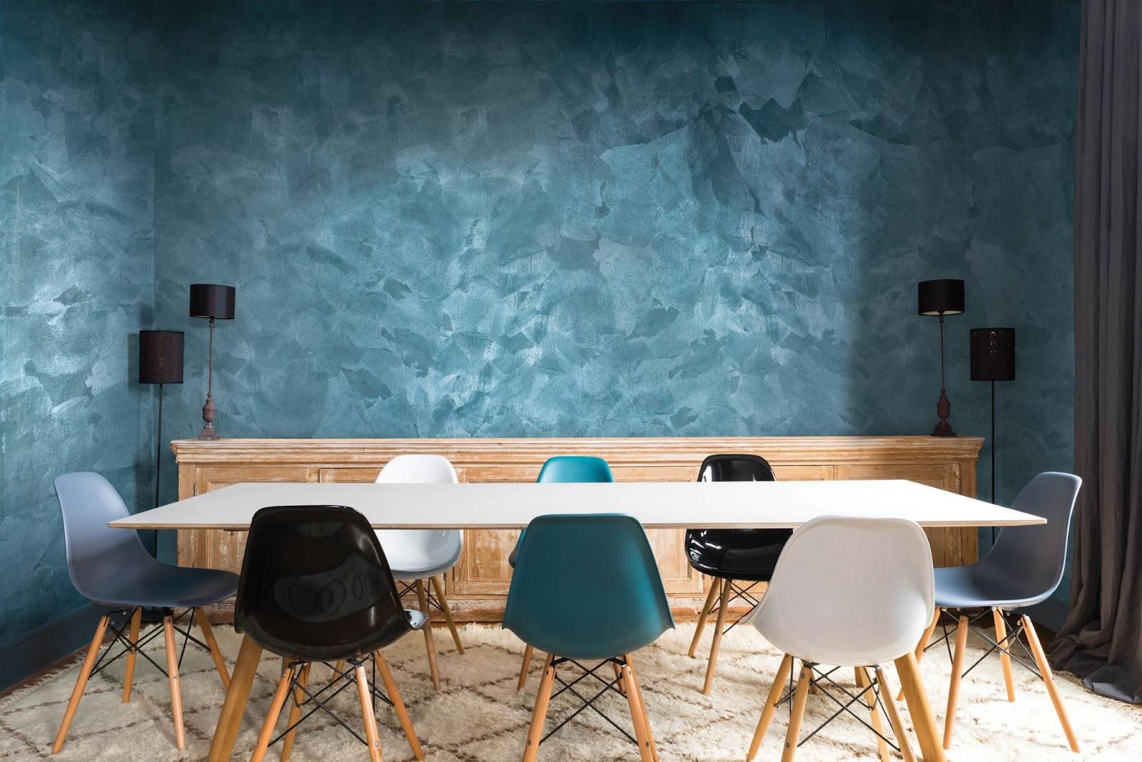 Waldo - Vị trí ứng dụng - Sơn hiệu ứng Tarismo nhũ nhung ngọc trai trang trí bức tường trong văn phòng
